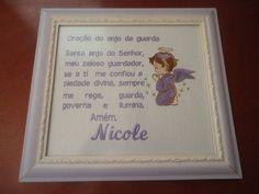 Quadrinho personalizado com a oração do anjo da guarda,nome e  anjinho...vidro anti-reflexo, emoldurado. R$ 41,80