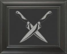 Knives Crossed - Cross Stitch Pattern Chart – Crass Cross Cross Stitch Charts, Cross Stitch Patterns, Dmc Floss, Knives, Color Schemes, Frame, Instagram Posts, R Color Palette, Picture Frame