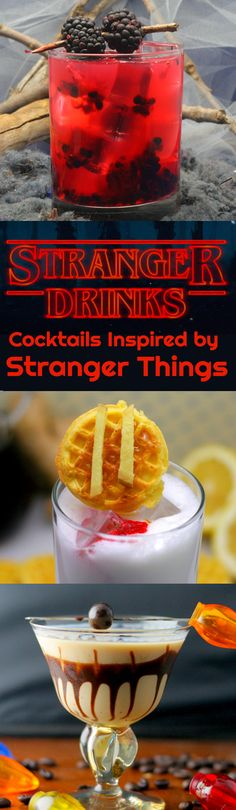 Cocktails inspired by Stranger Things with recipes.
