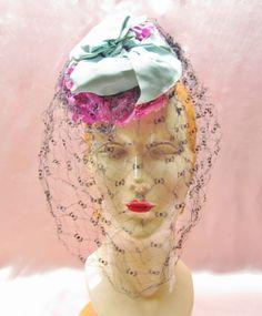 Vintage highfashion hat  1940's tilt hat with by mathildasattic, $68.00
