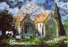 Augustine's Church at Brookland, Kent, SE England, watercolour. Watercolor Landscape, Landscape Paintings, John Piper Artist, Environment Painting, Just Ink, Royal College Of Art, London Art, Art For Art Sake, Art Techniques
