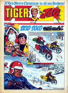 Most adventure comics tended to avoid Christmas stories as they interfered with continuity or were an awkward fit for serials, but Tiger . Christmas Comics, Merry Christmas To All, A Christmas Story, Old Comics, Vintage Comics, Creepy Comics, Vintage Magazines, Vintage Books, Old English
