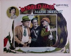 Lobby card for the 1925 silent film Bobbed Hair starring Marie Prevost, Delores Costello and Louise Fazenda.