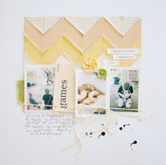 Love the stitched chevron across the top and the string around the collection of photos!