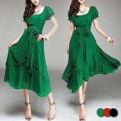 Women's Aysm Hem Chiffon Midi Dress