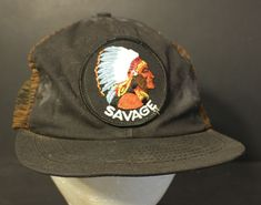e8cdfc37e95 Vintage Savage Mesh Trucker Hat Cap Patch Snapback Black Union Made in USA   HaT