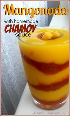 A sweet and spicy Mexican treat with frozen mango and Chamoy sauce. Mangonada with homemade Chamoy sauce recipe Mexican Snacks, Mexican Drinks, Mexican Dishes, Mexican Food Recipes, Dessert Recipes, Mexican Desserts, Mangonada Recipe, Yummy Drinks, Bon Appetit