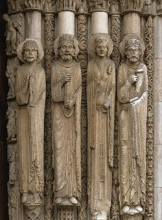 Old Testament queen and kings, jamb statues, central doorway of Royal Portal, Chartres Cathedral, Chartres, France, ca. 1145–1155.