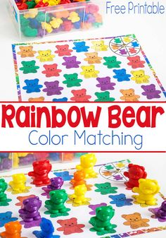 Rainbow Bear Color Matching Spinner Game – Life Over Cs Rainbow Bear Color Matching Spinner Game. This game is a fun learning activity for small kids! It is easy to learn colors with this rainbow bear spinner game. Bears Preschool, Preschool Colors, Preschool Centers, Teaching Colors, Preschool Lessons, Preschool Math, Math Activities, Toddler Activities, Color Activities For Preschoolers