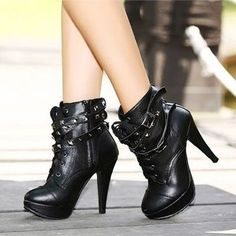 Give me right now! Fashion Platform Pump Stiletto High Heels Rivet Strap Lace-Up Ankle Boots Shoes