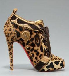 Christian Louboutin Leopard-Print Lace-Up Bootie