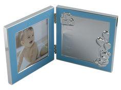 Fotoram dubbel blå födelsedata 10x10cm. h 12cm