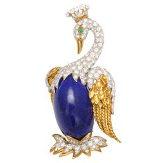 A fine large gold, diamond, emerald and lapis brooch. Circa 1960's. Signed David Webb, accompanied with certificate of authenticity. 27k USD  1stDibs