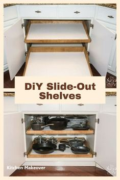 DiY Slide-Out Shelves - A husband and wife want more kitchen cabinet space, but instead of simply decluttering they do THIS! Diy Kitchen Decor, Kitchen Redo, New Kitchen, Kitchen Ideas, Beige Kitchen, Wooden Kitchen, Kitchen Hacks, Country Kitchen, Best Kitchen Cabinets