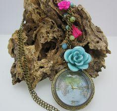 Collares Mujer Reloj de Bolsillo Mapa Mundi Estilo Vintage Collars, Crochet Earrings, Jewelry, Fashion, Antique Gold, Pocket Watches, Vintage Style, Jewels, Accessories