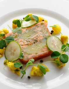 This colourful salmon terrine recipe is made with leeks and confit potato, making Josh Eggelton's terrine a really appetising starter