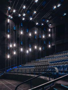 JINYI CINEMAS - JINYI IMAX CINEMAS AT LIUZHOU THE MIXC - One Plus Partnership Auditorium Architecture, Cinema Architecture, Auditorium Design, Architecture Details, Cinema Theatre, Movie Theater, Cinema Box, Theatre Design, Theatrical Scenery