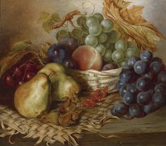 Edward Ladell (1821-1886) —   Still Life with Fruit  and Basket  (1500x1322)