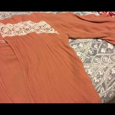 Peach colored cardigan One size fits all, worn twice, very free flowing, in great condition, peach colored! Tops Blouses