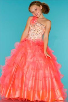 Princess One Shoulder Neon Coral Tulle Ruffle Beaded Sequin Flower Girl Pageant Dress
