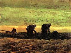 Ван Гог «Две женщины на вересковой пустоши» 1883 г. Холст, масло. 27.8 x 36.5 cm. Музей Винсента Ван Гога, Амстердам.