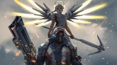 Mercy and Soldier:   76 Overwatch 1920x1080 wallpaper