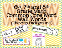 6th, 7th and 8th Grade Math Common Core Word Wall Words- Chevron Print
