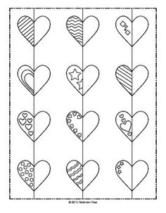 Students will enjoy coloring or painting these Valentine's Day hearts, as they are challenged with drawing the lines and shapes to practice symmetry. Valentines Day Drawing, Valentines Day Hearts, Symmetry Activities, Therapy Activities, Symmetry Art, Valentine Crafts For Kids, Valentine Party, Holiday Crafts, Drawing Sheet