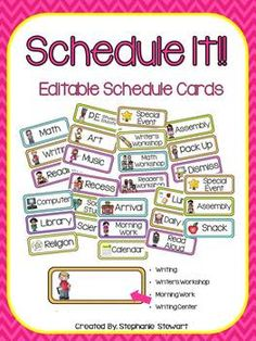 Print and edit these bright schedule cards for your classroom! Can be used as is or customized to fit the needs of your classroom! Detailed directions to edit font and save files are also included in this file. If you like these schedule cards but prefer Classroom Schedule, Preschool Schedule, Classroom Labels, Classroom Organisation, Classroom Setup, School Organization, Kindergarten Classroom, Classroom Management, Class Schedule