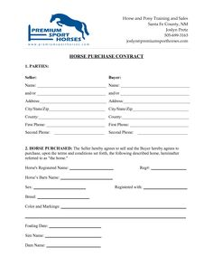 Horse Bill Of Sale Form  Bill Of Sales    Horses And