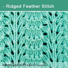 Ridged Feather Stitch. Free Lace Knitting Pattern includes written instructions and video tutorial.