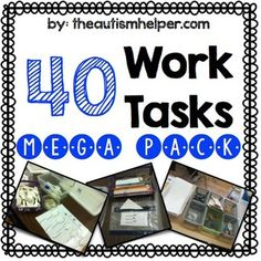 Work+tasks+are+a+key+component+in+any+classroom!+These+can+be+utilized+as+teaching+tools+and+as+independent+work+tasks.+In+order+to+create+an+effective+work+task+system+-+you+must+create+a+large+number+of+varied+work+tasks+that+are+visual+and+structured! This+resource+includes+detailed+instructions+for+setup,+visuals,+labels,+and+directions+for+use+for+40+work+tasks.+These+activities+range+for+more+basic,+The+Autism+Helper40 work tasks