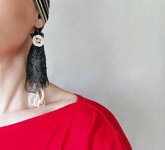 Jewelry Model, Jewelry Art, Etsy Jewelry, Jewellery, Fashion Sites, Fashion Models, Lace Earrings, Fabric Earrings, Hemp Yarn