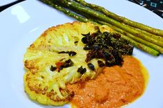 Cauliflower Steaks with Olive Relish and Spicy Tomato Sauce(Vegetarian South Beach Diet Phase 1 Recipe of the Month) - Oh Taste n See.....