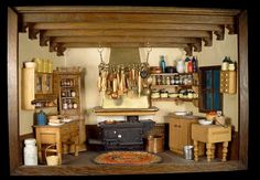 "Room Box Number 8 - Kitchen (For detailed pics, please see my ""Dollhouse Kitchen Pantry Scenes / Items"" board)"