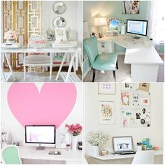 Pink And Gold W/ Mint Home Office Inspiration