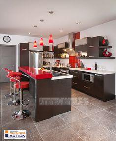 armoire de cuisine moderne, contemporaine, mélamine