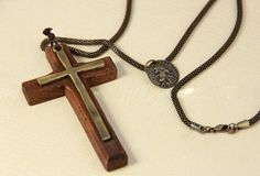 $8.99  Vintage Wooden Double Cross Necklace