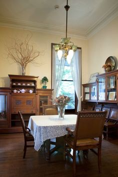 The breakfast room is quite similar to this at the Haas-Lilienthal House - the window slides up to function as a doorway onto the back porch