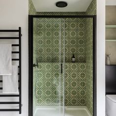 This bold Basco design is based on an antique tile from the It will stand out in an otherwise all-white bathroom giving your space a truly on-trend feel. Bathroom Interior, Modern Bathroom, Small Bathroom, Attic Bathroom, Bathroom Ideas, Spanish Bathroom, Ideal Bathrooms, Bathroom Goals, Modern Shower