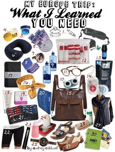 1.Faux ring swap 2.Sleep kit 3.Vaseline Lip Health 4.Tiger Balm 5.Clothwash Kit 6.Blowup pillow 7.Compass ring 8.Extra Meds 9-11.Extra vision items 12. Container kit 13.Flat in-filter H2Obottle 14.Aid/Sew Kit 15.Convertible BackpackPurse 16.Coolscarf 17.Papers book 18.Sanitize lotion 19.Lady wipes 20.Blowup back pillow 21.Pill organizer 22.Lace undershorts 23.Fan 24.Gel Soap: shaved soap+water 25.Watch 26/27. Comfy sandal & oxford 28.Blister skin 29.Modesty scarf 30.Recap journal