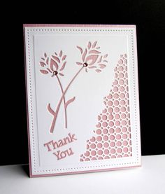 """For today's challenge, """"no extra postage""""  used just two pieces of cardstock. No bonus points - don't have any dies, or stamps that are postage oriented.   Die cut the flowers and the corner and added the sentiment.  Easy and light for mailing."""
