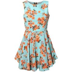 Rare Mint Floral Cut Out Dress found on Polyvore