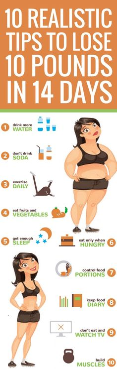 10 doable realistic ways to lose 10 pounds in 2 weeks.