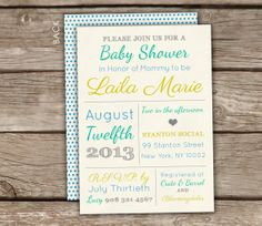 Vintage Style Typography Baby Shower Invitations - Gender Neutral, DIY Printable, bridal shower, engagement party, couples shower on Etsy, $18.00