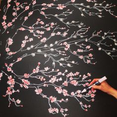Cherry blossoms on a blackboard | Wedding backdrop by Sarah O'Dea www.threebulletgate.com