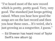 Ed Sheeran on Taylor's new album