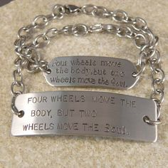 Couples Stainless Steel Motorcycle Quote Bracelets by WireNWhimsy