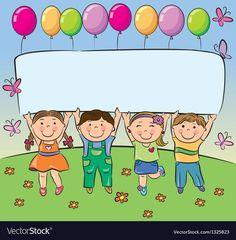 Summer children hold blank banner vector image on VectorStock Kids Background, Cartoon Background, Adobe Illustrator, Teacher Cartoon, Teacher Thank You Cards, Blank Banner, Powerpoint Background Design, Art Drawings For Kids, Borders For Paper