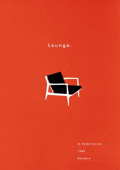 Mid Century Chair Poster Lounge art print danish modern illustration typography. via Etsy.